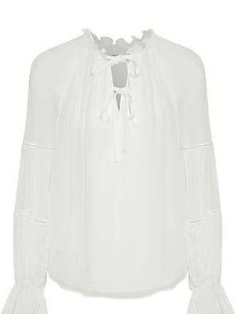 a4718048152b3 Cinq à Sept Cinq À Sept Woman Romy Gathered Silk-georgette Blouse Ivory  Size XL