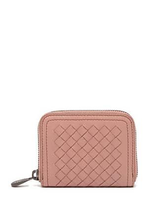 Bottega Veneta Intrecciato Leather Wallet - Womens - Dark Pink