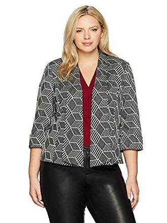 5e316f67b1fa0b Kasper Womens Plus Size Metallic Knit Jacquard Flyaway Jacket