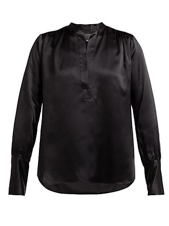 Nili Lotan Colette Silk Satin Blouse - Womens - Black