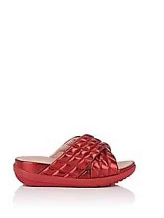 a1f6b02e36b1 FitFlop Womens Quilted Metallic Leather Slide Sandals - Md. Red Size 10