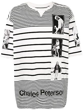 TAKAHIROMIYASHITA TheSoloist. Camiseta listrada com estampa gráfica - Branco
