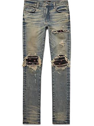 Amiri Mx1 Skinny-fit Rib-panelled Distressed Stretch-denim Jeans - Blue