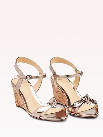 Alexandre Birman Noelle Wedge Sandal - 35.5 Luna Metallic Leather