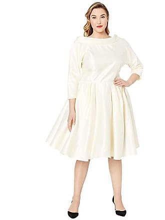 Unique Vintage Plus Size 1950s Style Satin Sleeved Lana Bridal Dress (Ivory Cream) Womens Dress