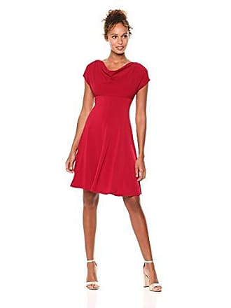 56054cd7bce London Times Womens Short Sleeve Cowl Neck Crepe FIT   Flare Dress