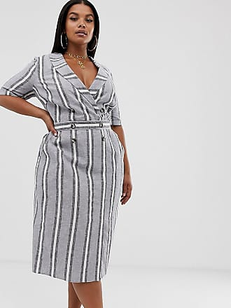 e9672184bb1 Asos Curve ASOS DESIGN Curve tux midi dress in natural stripe