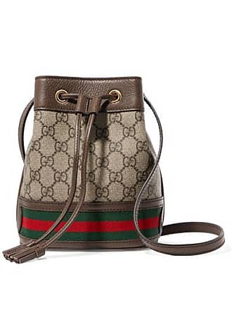 af073a8821b03d Gucci Ophidia Mini Textured Leather-trimmed Printed Coated-canvas Bucket  Bag - Brown