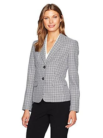 Nine West Womens 2 Button Piped Mini Houndstooth Jacket, Black/Multi 16
