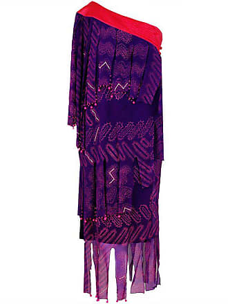 763ceecbf93e5 Zandra Rhodes 1970s Zandra Rhodes Purple Silk Hand Painted One-shoulder  Asymmetric Dress
