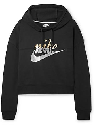d98d8a1c2df Nike Rally Cropped Printed Cotton-blend Hoodie - Black