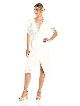Minkpink Womens Resort Lace Wrap Midi Dress, Off Off White, Small