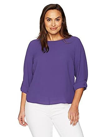 Nine West Womens Plus Size Solid Crepe Roll Tab Blouse, Blueberry, 1X