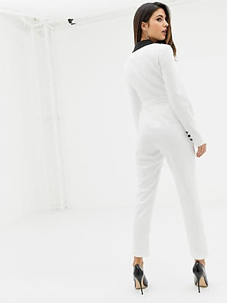 af71e68b549 Lavish Alice cropped blazer jumpsuit in white with black lapel - White
