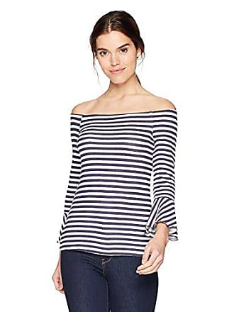 Three Dots Womens Nantucket Stripe Off Shoulder mid Loose Shirt, White/Navy, Small