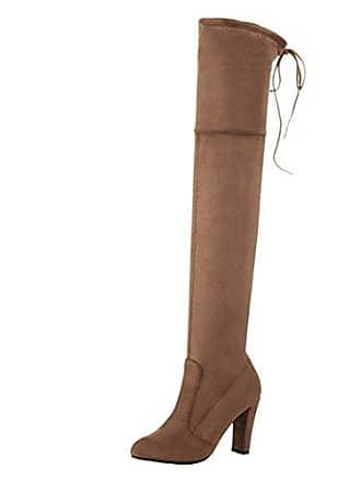 c1288b2ef25bd4 Aiyoumei Damen Blockabsatz High Heels Overknee Stiefel mit Schnürung Stretch  Stiefel mit Ohne Reißverschluss