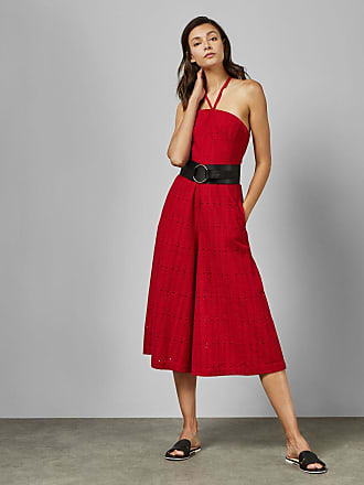 Ted Baker Halterneck Belted Wide Leg Jumpsuit in Red DAYAA, Womens Accessories