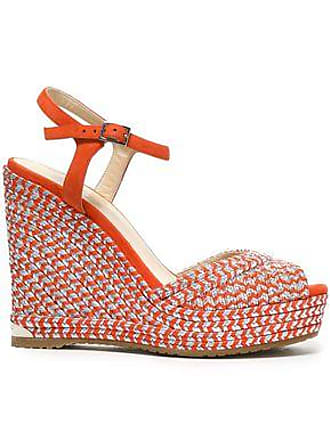 81d98829b09 Jimmy Choo London Jimmy Choo Woman Perla 120 Suede And Metallic Woven Wedge  Sandals Bright Orange