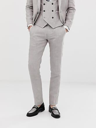 Twisted Tailor Runner - Pantaloni da abito super skinny in lino grigio pietra