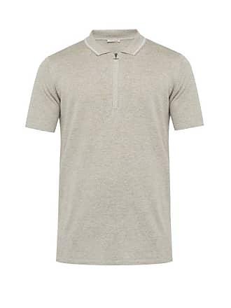 Falke Half Zip Silk Blend Polo Shirt - Mens - Light Grey