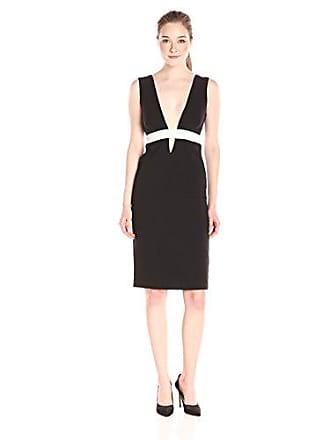 Nicole Miller Womens Techy Crepe Low V Neck Dress Black White 8