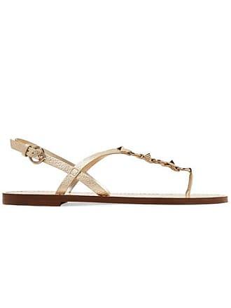 Valentino Valentino Garavani The Rockstud Metallic Textured-leather Sandals - Gold