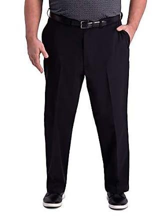 Haggar Mens Big and Tall B&T Premium Comfort Khaki Flat Front Classic Fit Pant, Black, 48Wx30L