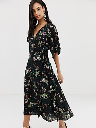 Liquorish floral midi dress with waterfall sleeves - Multi