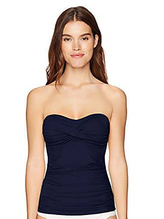 e7a944d104757 Anne Cole Womens Solid Twist Front Shirred Bandeau Tankini Swim Top, Navy,  X-