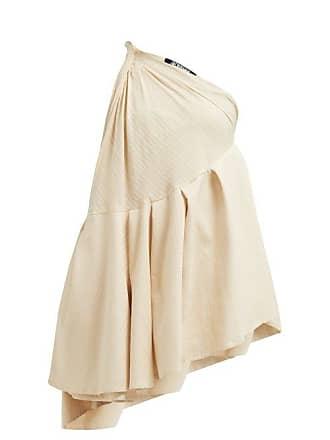 Jacquemus Affi One Shoulder Striped Cotton Blend Mini Dress - Womens - Beige