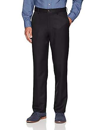 Amazon Essentials Mens Expandable Waist Classic-Fit Flat-Front Dress Pants, Black, 31W x 30L