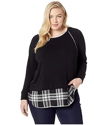 Karen Kane Plus Plus Size Plaid Hem Sweater (Black) Womens Sweater