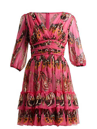 4a7eeaefb860 Dolce   Gabbana Butterfly Print Silk Chiffon Mini Dress - Womens - Pink  Print