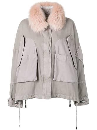 Yves Salomon - Army fur trim cropped parka - Grey