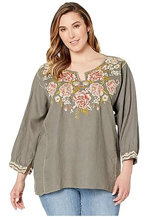 576ba74165ced7 Johnny Was Plus Size Cecile Boxy Peasant Blouse (Shale) Womens Clothing