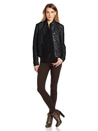 Kensie Womens Faux-Leather Knit Sleeves Jacket, Black, Large
