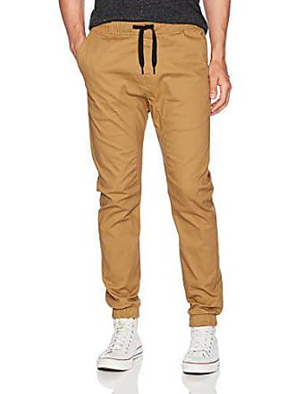 WT02 Mens Jogger Pants in Basic Solid Colors and Stretch Twill Fabric, Tobacco(NEW), X-Large
