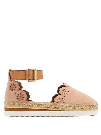 See By Chloé Flower Laser Cut Suede Espadrilles - Womens - Nude