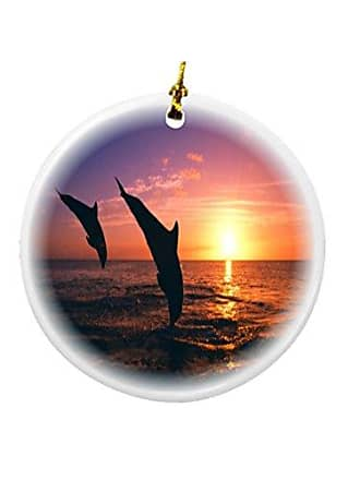 Rikki Knight Rikki Knight Dolphin Silhouette in Water Design Round Porcelain Two-Sided Christmas Ornaments