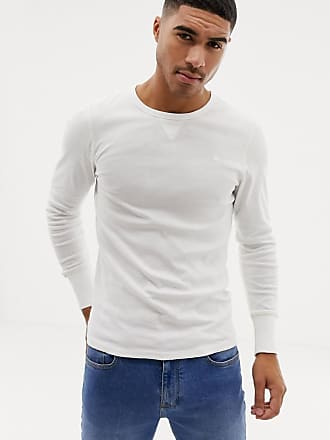 G-Star long sleeve crew neck with exposed seam detail in white - Green