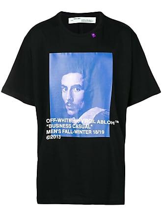 Off-white Camiseta decote arredondado - Preto