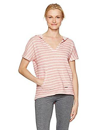 Andrew Marc Womens Striped Hooded Short Sleeve Pullover, Patriot/Ivory XL