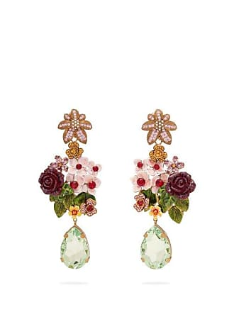 5e1e76fe23fa5 Dolce   Gabbana Floral And Crystal Embellished Drop Earrings - Womens -  Multi