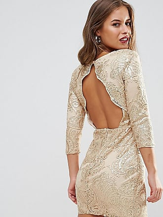 Tfnc Petite Allover Sequin Dress With Scalloped Open Back - Gold