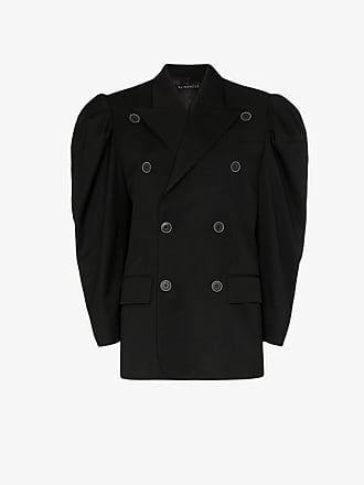 Blindness puff sleeve double-breasted blazer