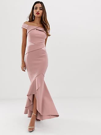 Lipsy bardot maxi dress with ruffle wrap front - Brown