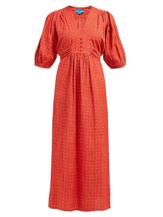 Mih Jeans Avery Tulip Printed Cotton Blend Midi Dress - Womens - Red
