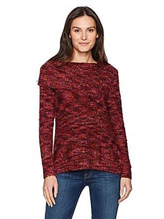 Ruby Rd. Womens Split-Cowl Spacedye Boucle Sweater Pullover, Burgundy Multi XLarge