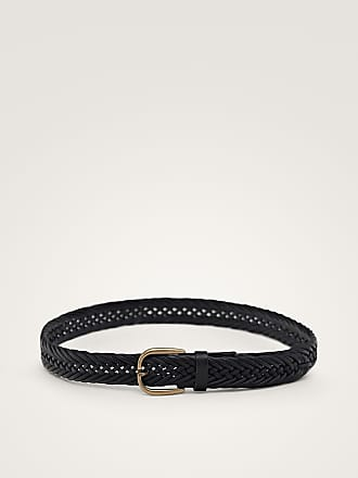 MASSIMO DUTTI BRAIDED BLACK LEATHER BELT