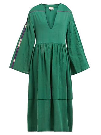 Zeus + Dione Astypalaia Embroidered Cotton Midi Dress - Womens - Green